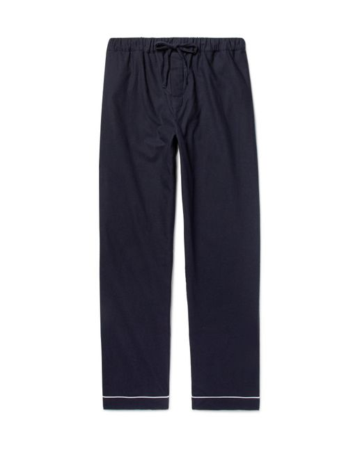Desmond & Dempsey - Blue Brushed-cotton Twill Pyjama Trousers for Men - Lyst