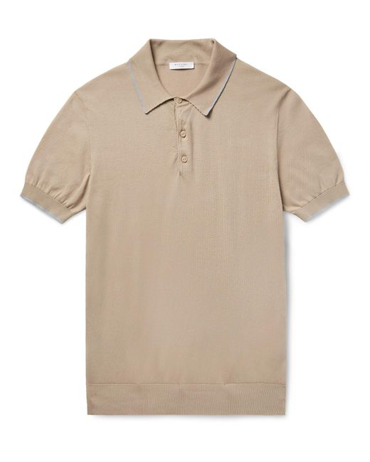 Boglioli - Natural Slim-fit Contrast-tipped Knitted Cotton Polo Shirt for Men - Lyst