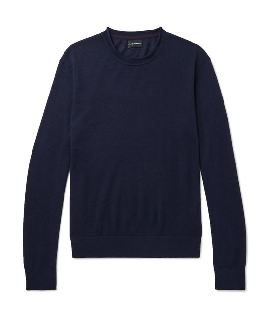 Club Monaco - Blue Slim-fit Merino Wool, Silk And Cashmere-blend Sweater for Men - Lyst
