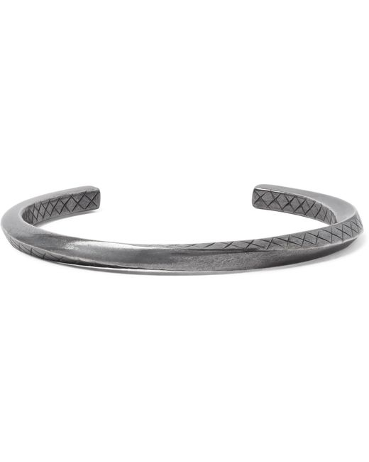 Bottega Veneta - Metallic Intrecciato Oxidised Sterling Silver Cuff for Men - Lyst