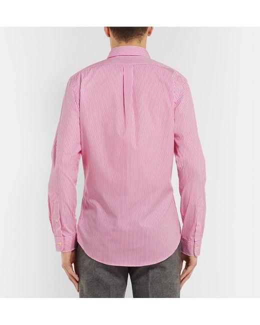 16bc6592b8 ... Polo Ralph Lauren - Pink Slim-fit Button-down Collar Striped  Cotton-poplin ...