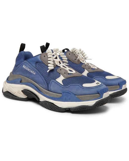 Balenciaga Blue And White Triple S Leather Sneakers In