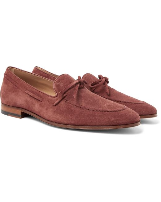 Tod's - Red Suede Loafers for Men - Lyst