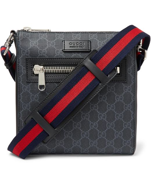 164913323 Gucci - Black Leather-trimmed Monogrammed Coated-canvas Messenger Bag for  Men - Lyst