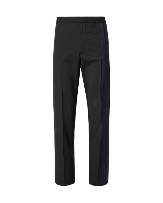 Valentino - Black Striped Wool And Mohair-blend Drawstring Trousers for Men - Lyst