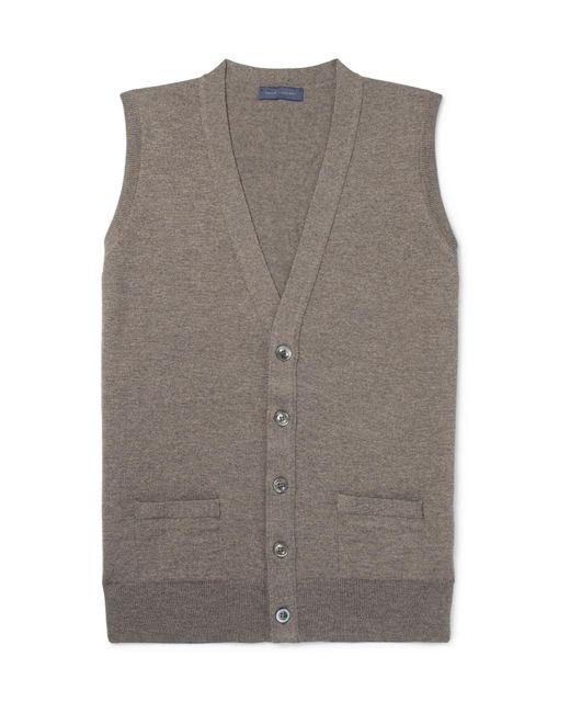 Thom Sweeney - Brown Slim-fit Mélange Merino Wool Sweater Vest for Men - Lyst