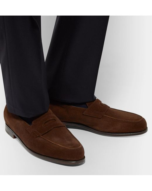 3df9adf0212 ... John Lobb - Brown Lopez Suede Penny Loafers for Men - Lyst ...