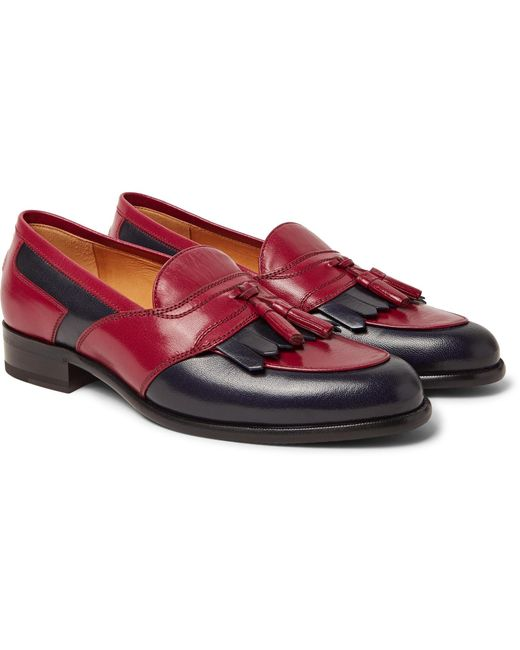 Gucci - Red Curtis Two-tone Leather Tasselled Kiltie Loafers for Men - Lyst