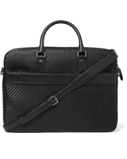 Ermenegildo Zegna - Black Pelle Tessuta Leather Briefcase for Men - Lyst