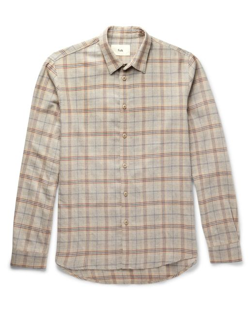Folk | Natural Checked Cotton And Wool-blend Shirt for Men | Lyst