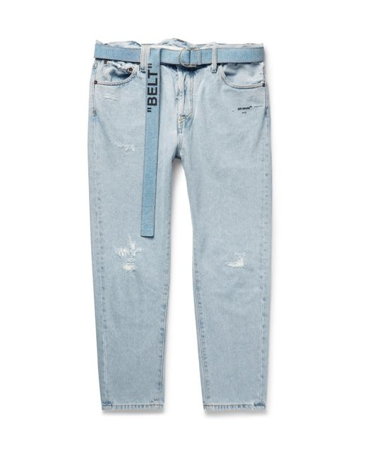 338e9a53e11a Lyst - Off-White c o Virgil Abloh Tapered Distressed Denim Jeans in ...