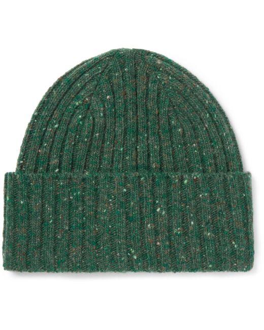 Drake's   Green Ribbed Donegal Merino Wool Beanie for Men   Lyst