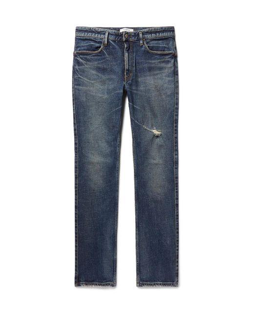 Nonnative | Blue Dweller Slim-fit Distressed Stretch-denim Jeans for Men | Lyst
