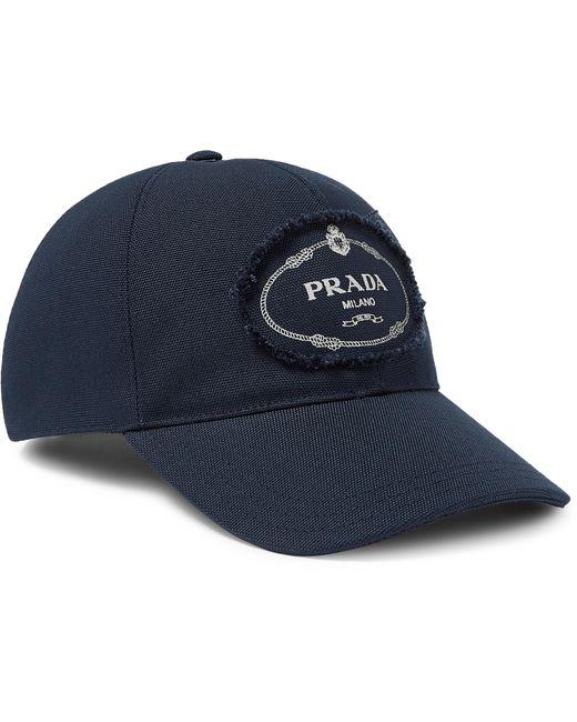 efb9817a2ec Lyst - Prada Logo-print Cotton-canvas Baseball Cap in Blue for Men