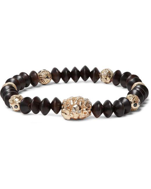 Luis Morais - Brown Wood And Gold Bead Bracelet for Men - Lyst