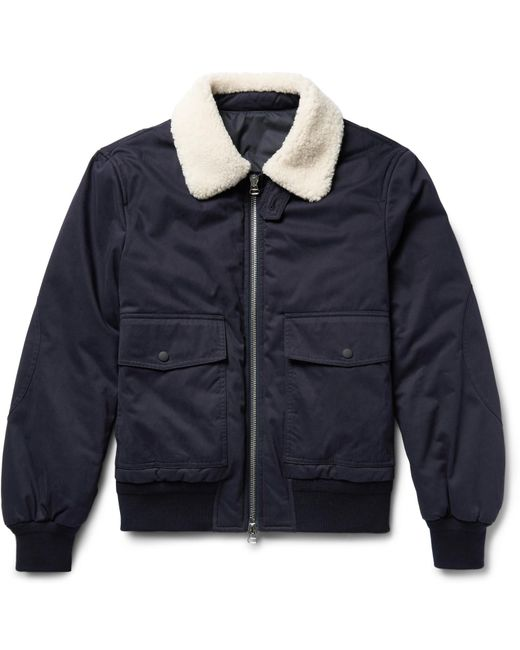 Joseph | Blue Alpha Shearling-trimmed Cotton-twill Flight Jacket for Men | Lyst