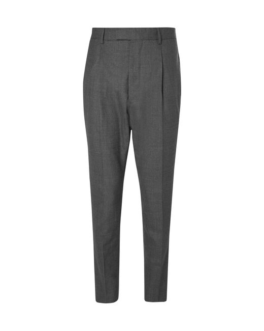 Officine Generale - Gray Grey Marcel Tapered Pleated Wool Suit Trousers for Men - Lyst