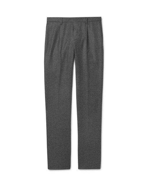 Loro Piana - Gray Slim-fit Mélange Wool And Cashmere-blend Drawstring Trousers for Men - Lyst