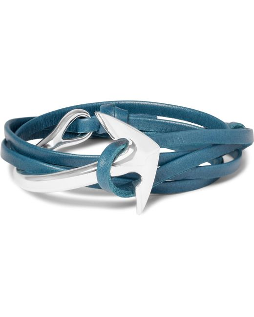 Miansai | Blue Anchor Leather Silver-plated Wrap Bracelet for Men | Lyst