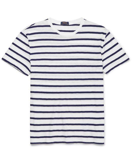 Polo Ralph Lauren | White Striped Slub Cotton-jersey T-shirt for Men | Lyst