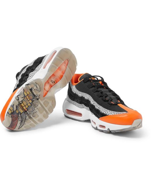 953d23993f ... Nike - Black Air Max 95 Panelled Leather And Mesh Sneakers for Men -  Lyst ...