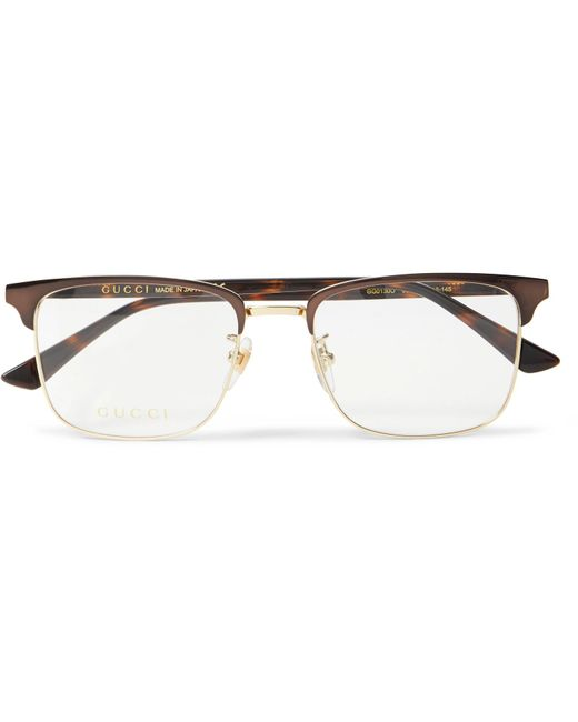 583ef8b47bb Gucci - Brown Square-frame Tortoiseshell Acetate And Gold-tone Optical  Glasses for Men ...