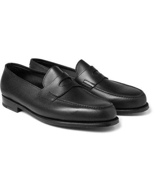 John Lobb   Black Grained-leather Penny Loafers for Men   Lyst