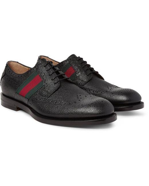 Gucci | Black Webbing-trimmed Pebble-grain Leather Wingtip Brogues for Men | Lyst