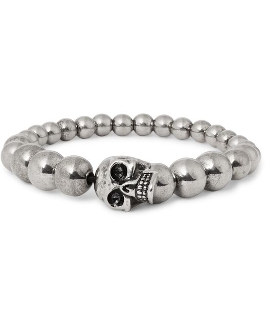 Alexander McQueen | Metallic Silver-tone Beaded Skull Bracelet for Men | Lyst