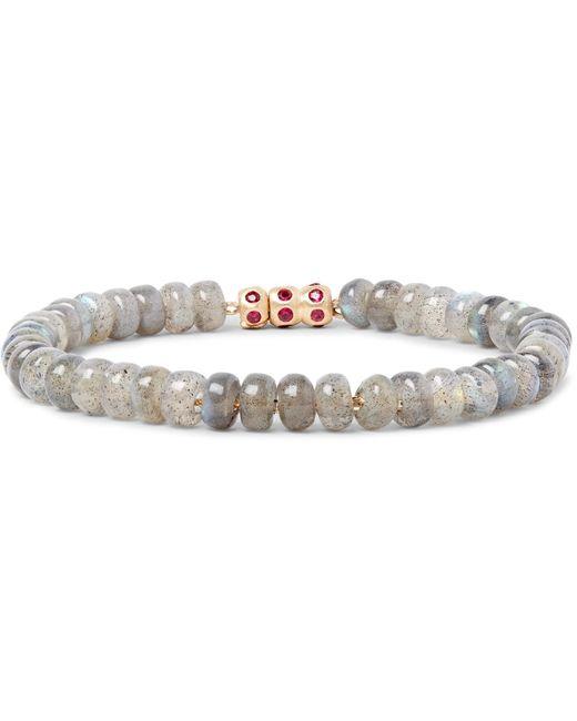 Luis Morais | White Bead, Gold And Ruby Bracelet for Men | Lyst