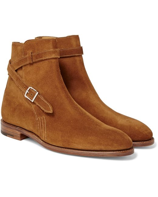 John Lobb Abbott Suede Jodhpur Boots In Brown For Men Tan
