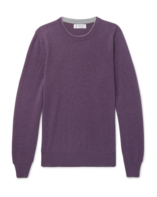 Brunello Cucinelli - Purple Contrast-tipped Cashmere Sweater for Men - Lyst