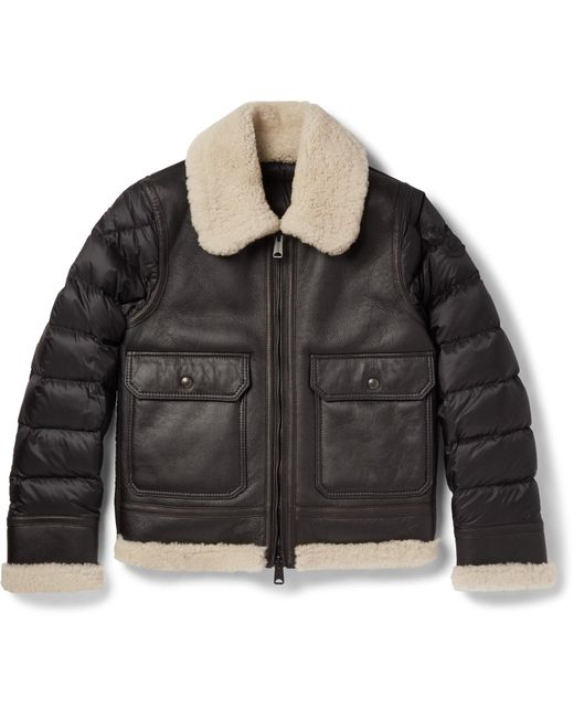 Moncler | Multicolor Laredo Shearling-trimmed Leather And Quilted Shell Down Jacket for Men | Lyst