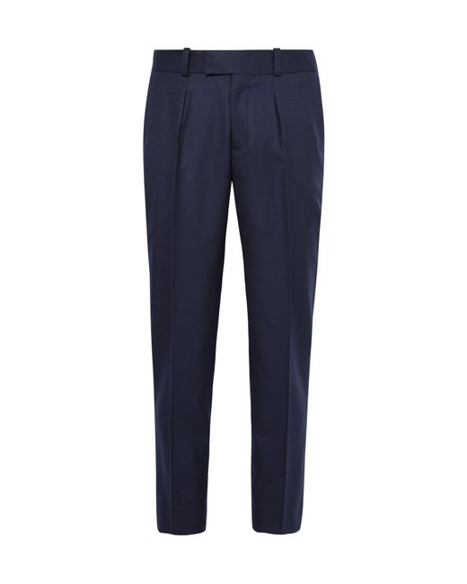 Sandro | Blue Slim-fit Pleated Wool Trousers for Men | Lyst