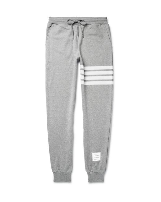 Thom Browne | Gray Tapered Striped Loopback Cotton-jersey Sweatpants for Men | Lyst