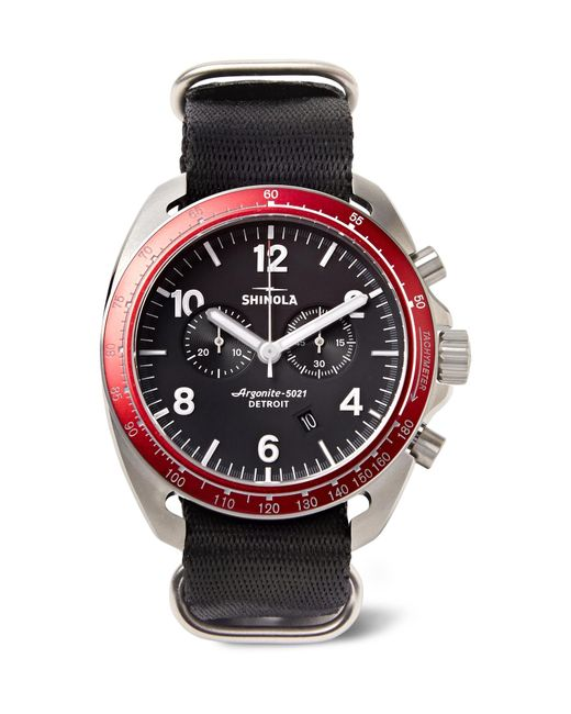 Shinola - Black The Rambler Tachymeter Chronograph 44mm Stainless Steel And Webbing Watch for Men - Lyst