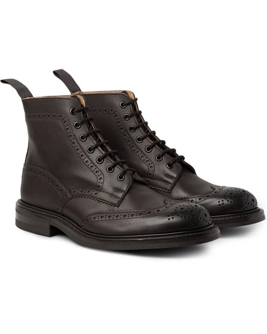 Tricker's | Brown Stow Burnished-leather Brogue Boots for Men | Lyst