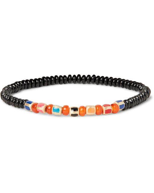 luis morais gold bead and enamel bracelet in orange for