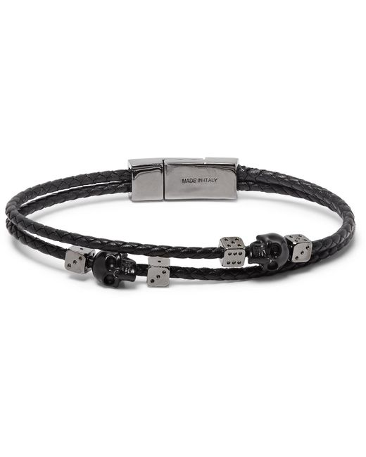 Alexander McQueen - Black Braided Leather And Gunmetal-tone Bracelet for Men - Lyst