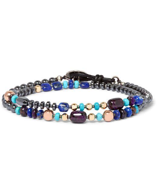 Peyote Bird - Blue Hematite, Sugilite, Lapis Lazuli And Gold-plated Wrap Bracelet for Men - Lyst