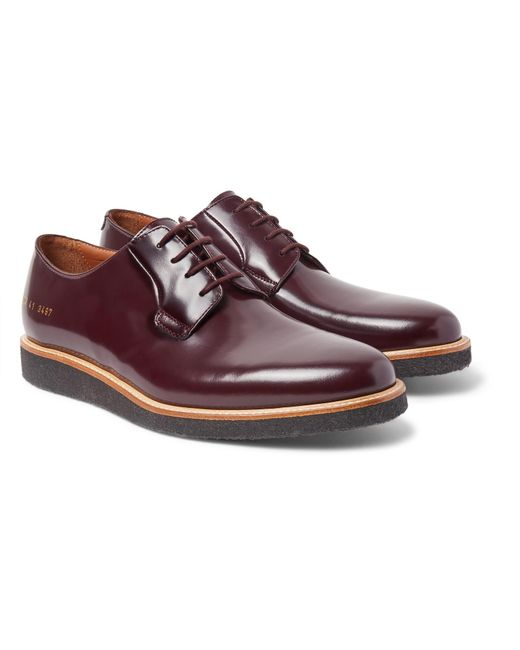Common Projects - Purple Polished-leather Derby Shoes for Men - Lyst