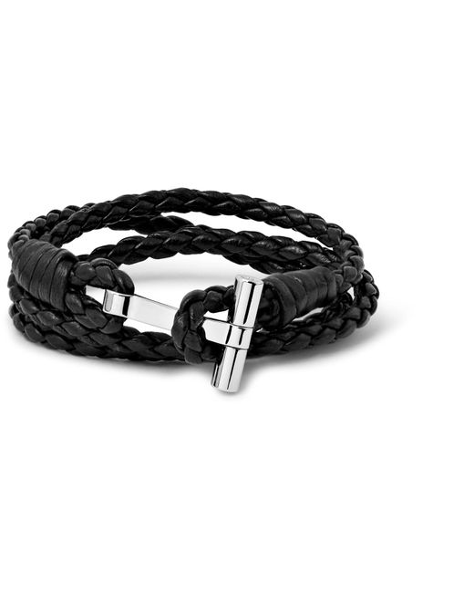 Tom Ford | Multicolor Woven Leather And Palladium-plated Wrap Bracelet for Men | Lyst