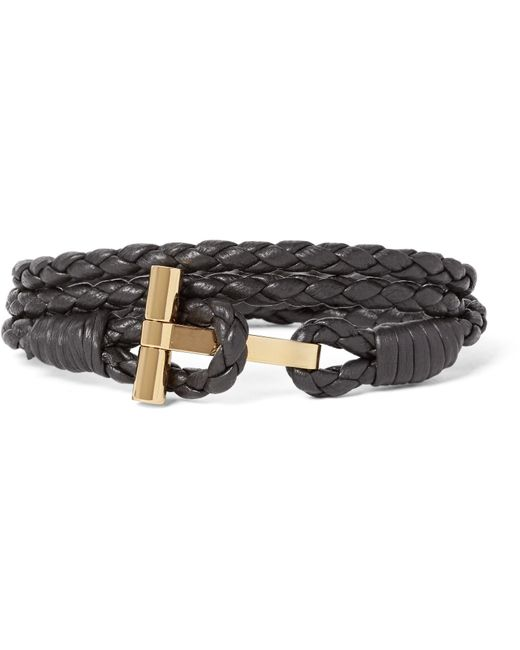 Tom Ford   Brown Woven Leather And Gold-plated Wrap Bracelet for Men   Lyst
