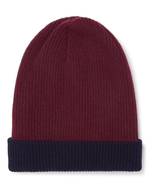 Brunello Cucinelli - Red Reversible Ribbed Cashmere Beanie for Men - Lyst