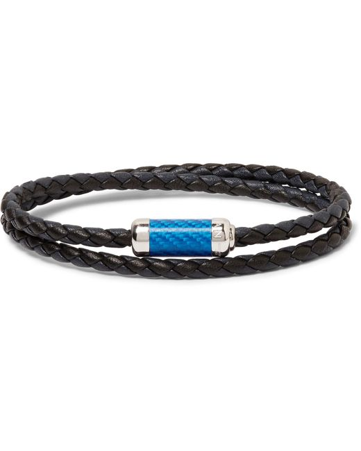 Tateossian - Blue Montecarlo Woven Leather And Sterling Silver Bracelet for Men - Lyst