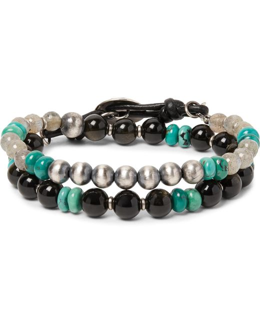 Peyote Bird - Black Labradorite, Obsidian, Turquoise And Sterling Silver Wrap Bracelet for Men - Lyst