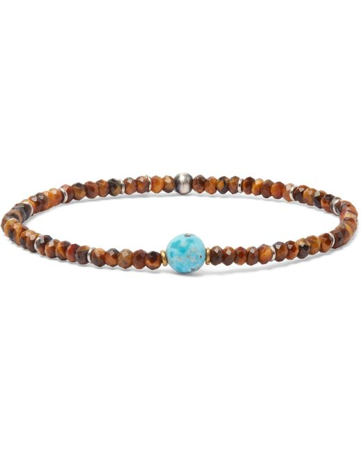 Peyote Bird - Brown Beaded Tiger's Eye, Turquoise And Sterling Silver Bracelet for Men - Lyst