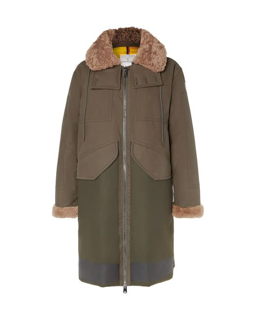 Moncler | Green Garcia Shearling-trimmed Cotton-twill And Wool-blend Hooded Down Parka for Men | Lyst