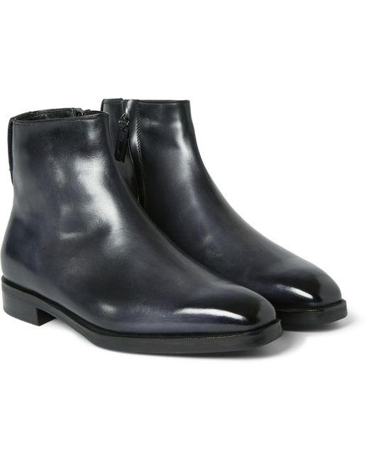 Berluti - Black Shearling-lined Leather Boots for Men - Lyst