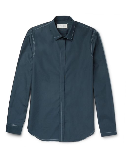 Maison Margiela | Blue Contrast-stitched Cotton-poplin Shirt for Men | Lyst